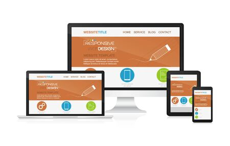 adaptable: Responsive design and web devices. Concept for presentation your responsive design. Illustration