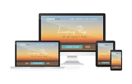 responsive: Landing page in responsive web design for your website presentation.