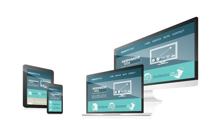 Responsive web design with different devices.  illustration for your blog, working presentation or other uses. Illustration