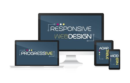 adaptable: Responsive web design concept. Technological devices on a white background. Illustration
