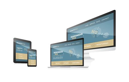 adaptable: Responsive web design - computer, laptop, tablet and smartphone. Illustration