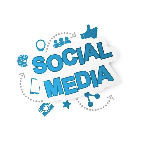 Social media background with network icons.