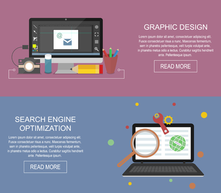 technology banner: Graphic design and search engine optimization website banner.