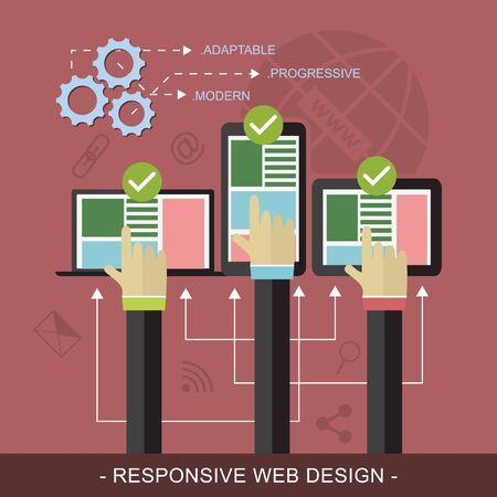 three hands: Responsive website flat design illustration with technological devices, icons and three hands.