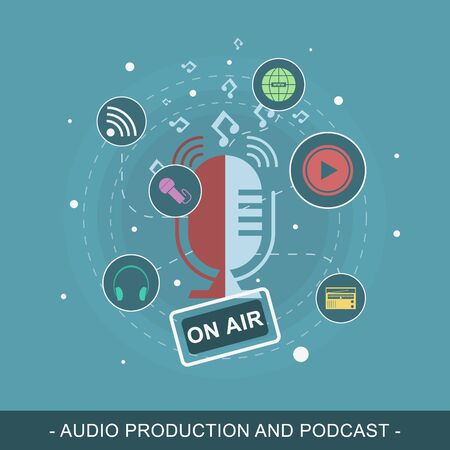 listener: Audio production and podcast vector illustration. Editable flat design concept for promotion materials or website banner.