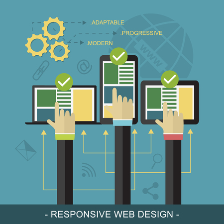 three hands: Responsive website flat design vector illustration with technological devices, icons and three hands. Illustration