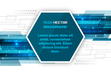 Abstract blue vector hexagonal technology background with arrows and glitter. Illustration