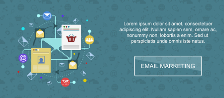 web marketing: Email marketing. Web banner, slider or vector flat background. Illustration