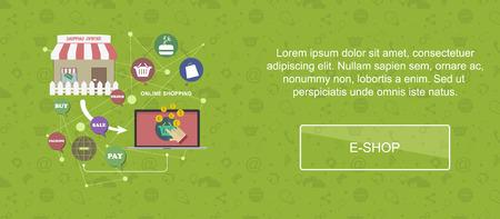 eshop: E-shop. Web banner, slider or vector flat background.