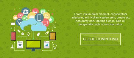 slider: Cloud computing. Web banner, slider or vector flat background. Illustration