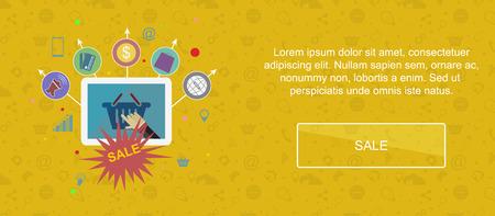 slider: Sale and promotion. Web banner, slider or vector flat background. Illustration