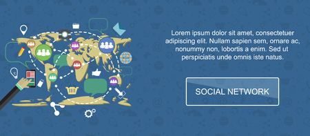 slider: Social network. Web banner, slider or vector flat background.