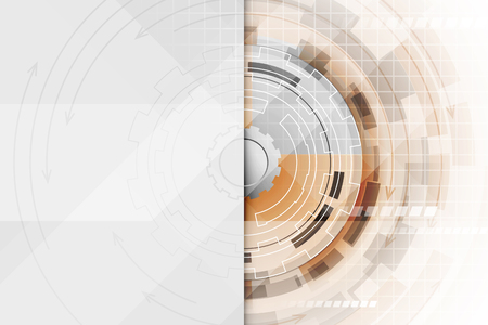 technological: Technological abstract illustration with a gear wheel in the middle. Editable vector design.