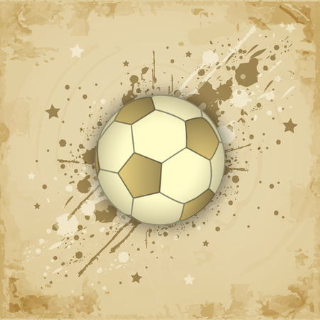 paper ball: Vintage paper vector grunge background with soccer (football) ball. Illustration