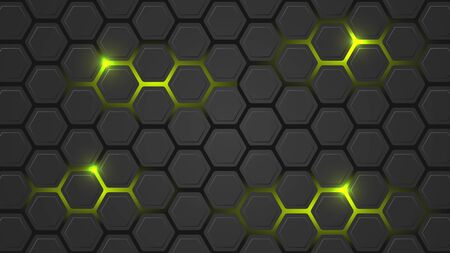 Dark vector illustration with a hexagonal pattern and green backlight. Design for your pc desktop or other uses.