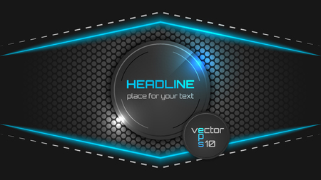 computer banner: Vector futuristic dark background with a circular pattern, light and place for text.