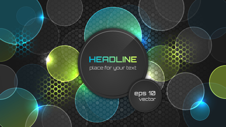 headline: Dark abstract wallpaper with circle pattern and place for your headline. Vector illustration. Illustration