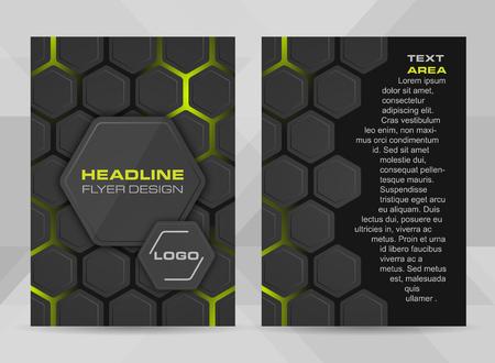 チラシ デザイン A4 サイズ表紙のパンフレットのテンプレートまたは企業バナー。ベクトル図六角形構造と広告の見出しのための場所。