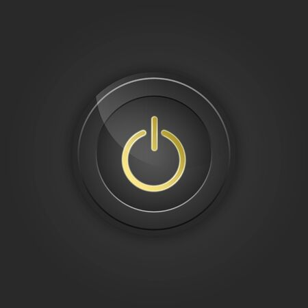playback: Black button power. Vector illustration with shading.