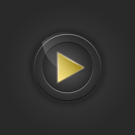 black button: Black button play. Vector illustration with shading. Illustration