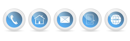 Contact us vector buttons or icons - set.