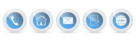 Contattaci pulsanti o icone vettoriali - set.