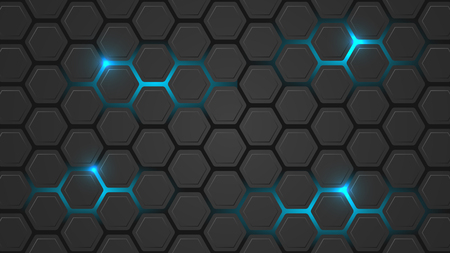backlight: Dark vector illustration with a hexagonal pattern and blue backlight. Design for your pc desktop or other uses.