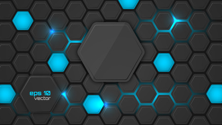 backlighting: Abstract background or pc desktop wallpaper. Vector illustration with hexagonal structure and backlighting. Illustration
