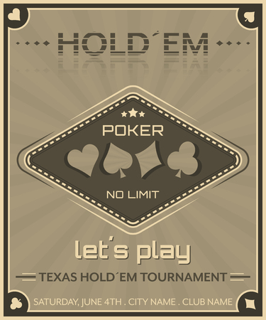 Poker background in retro style. Poster for poker tournament
