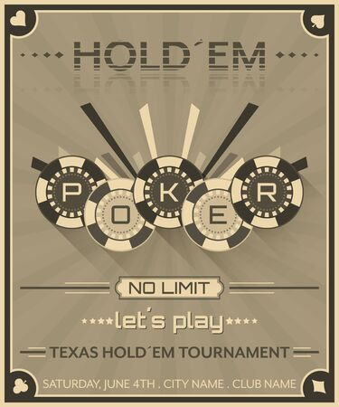 Poker background in retro style. Poster for poker tournament. Poker chips illustration.