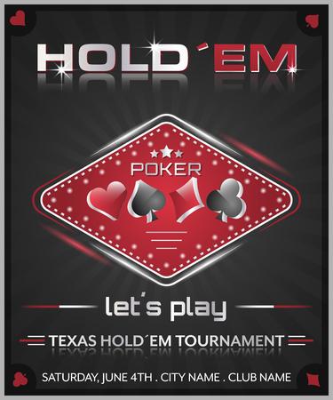 holdem: Texas holdem poker tournament poster illustration with cards symbol.