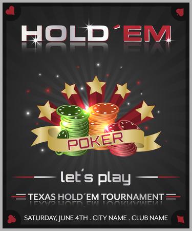 holdem: Texas holdem poker tournament poster illustration with poker chips.