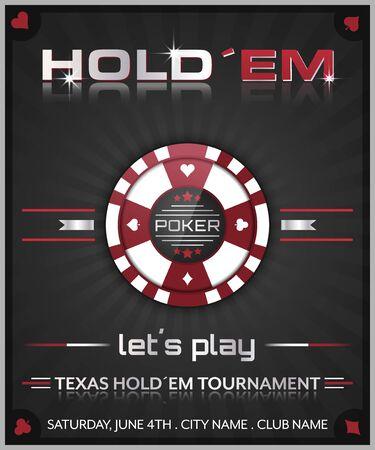 holdem: Texas holdem poker tournament poster illustration with poker chip symbol.