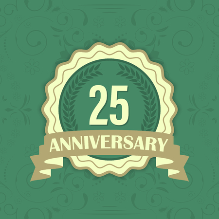 onehundred: 25th anniversary vector label on a green ornament background. One-hundred anniversary. Illustration