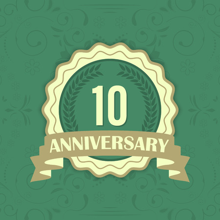 10th: 10th anniversary vector label on a green ornament background. One-hundred anniversary.