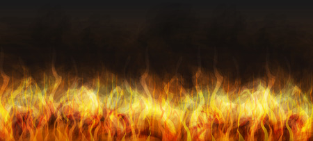 fumes: Realistic fire on a dark background. Burning flame and steam. Stock Photo