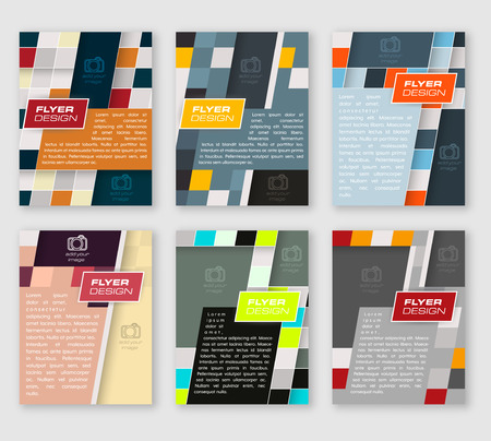 Set of business template, brochure or corporate banner with square pattern