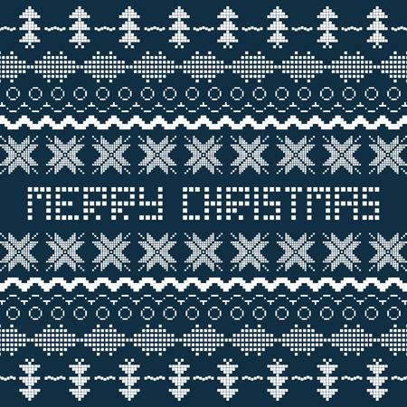 scandinavian: Christmas  background with Scandinavian seamless pattern. Illustration