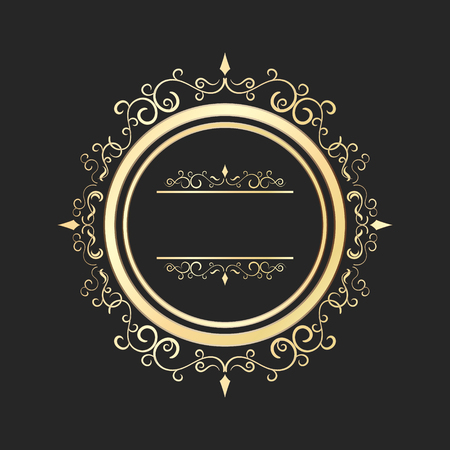 dashes: Vintage round gold floral frame with spirals and curves. Ornate calligraphic design element.