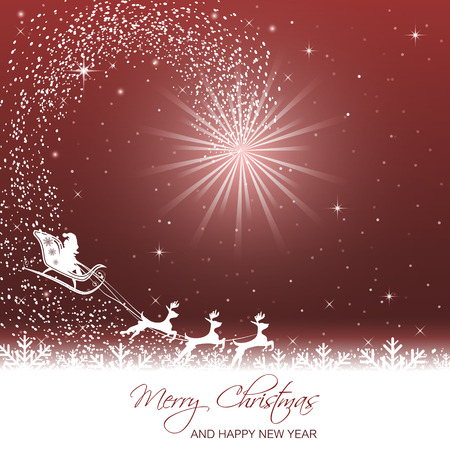 Merry Christmas and Happy New Year illustration with glare and Santa on sleigh with reindeer. Illustration