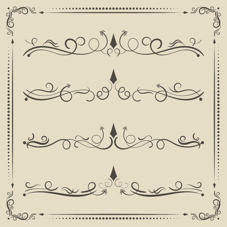 Vector calligraphic curled divider, decorative elements and page decor. Ilustracje wektorowe