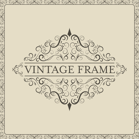 dashes: Vintage frame with decorative curves and spirals. Vector illustration.