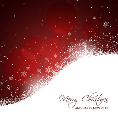 snowdrifts: Christmas and New Year card with snowflakes, snowdrifts, stars and glitter. Vector illustration.