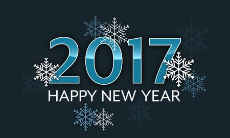 Happy New Year 2017. Vector illustration with snowflakes. Illustration