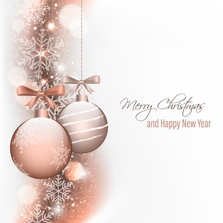 Christmas and New Year greeting card. Hanging baubles with bow, glitter snowflake and blurred circles.