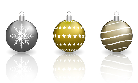 reflection: Christmas baubles on white background with reflection. Illustration