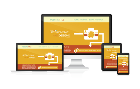 adaptable: Responsive web design vector - computer, laptop, tablet and smartphone. Idea for your website presentation.