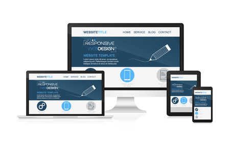 adaptable: Responsive design and web devices. Concept for presentation your responsive design. Vector illustration. Illustration