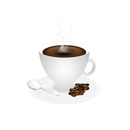fume: Cup of coffee. Piccolo with coffee beans, fume and spoon. Vector illustration.