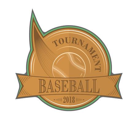 Baseball tournament vector sport emblem with ball. Illustration